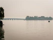 Bridge on a Chinese lake Stock Photos