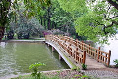 Bridge in chinese park. Stock Photos