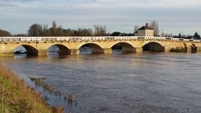 Bridge in Chinon France. Showing high water level of Vienne river Stock Image