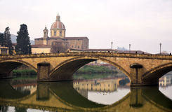 Bridge and church in florence Royalty Free Stock Photo