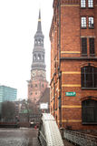 Bridge and Church of St. Catherine in Hamburg, Germany Royalty Free Stock Images