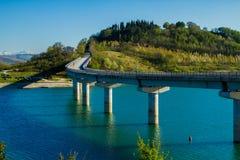 Bridge in Cingoli Marche Italy. One of the bridges that cross the artificial Castreccioni`s lake in Italy Royalty Free Stock Photo