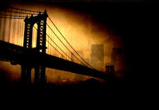 Bridge and city. Dark highly focused  grunge bridge and city Royalty Free Stock Images