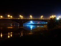 The bridge in the city of Irkutsk. Bridge in Russia Irkutsk across the Angara River. Night Photography Stock Photos
