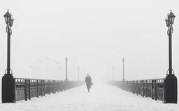 Bridge city landscape in foggy snowy winter day Stock Image
