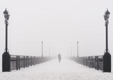 Bridge city landscape in foggy snowy winter day Royalty Free Stock Image
