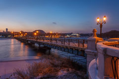 Bridge city landscape in snowy winter night Royalty Free Stock Photos