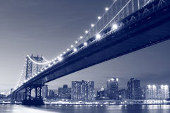 bridge city manhattan new night york Στοκ Φωτογραφίες