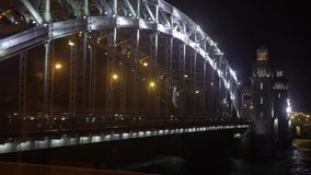 Bridge in a city. At night stock video