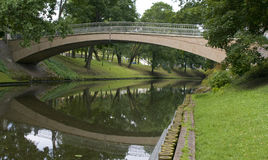 Bridge in City park in centre of Riga Stock Photography