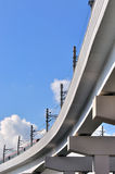 Bridge of city railway with train Royalty Free Stock Photos