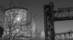 A bridge and the Cleveland Federal Building by a bridge - CLEVELAND - OHIO. Cleveland is a major city in Ohio on the shores of Lake Erie. Landmarks dating to its royalty free stock photo