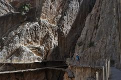Bridge on a cliff. Dangerous path in the montains Royalty Free Stock Photography
