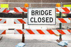 Bridge Closed sign. On the ground Stock Image