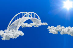 Bridge in clouds Royalty Free Stock Image
