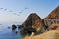 The bridge on the coastal highway. On the Pacific coast. California, USA Royalty Free Stock Image
