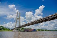 Bridge in Coca, Napo River,Ecuador's amazon basin. Bridge in Coca, Napo River in Ecuador's amazon basin Royalty Free Stock Photos