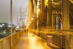Bridge in Cologne Germany at night Royalty Free Stock Photos