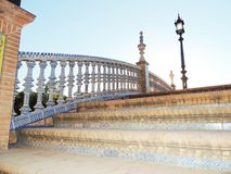Bridge, color, blue, pole, lantern, illuminator, art, architecture, mosaic, sevilla. Spania, Europann Royalty Free Stock Image