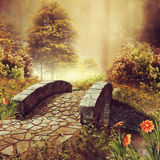 Bridge on a colorful autumn meadow Royalty Free Stock Images