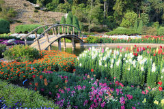 The  Bridge with colorful flowers blowing in the wind. The Bridge with colorful flowers blowing in the wind motion blur at the garden sunny day Stock Photo
