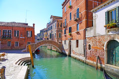 Bridge and colorful houses in Venice Royalty Free Stock Images