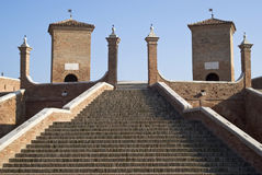 Bridge in Comacchio, Italy. The monumental Trepponti bridge in Comacchio, Emilia Romagna, Italy Stock Photo