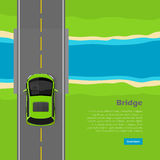Bridge Conceptual Flat Vector Web Banner. Bridge conceptual web banner. Modern mini car goes on over bridge across river top view flat vector illustration. City Royalty Free Stock Photos