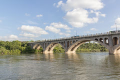 Bridge. Concrete bridge across a river Royalty Free Stock Photos