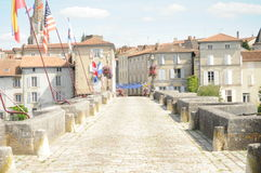 The bridge at Confolens - France royalty free stock image