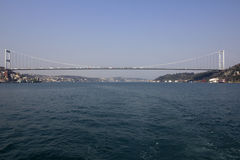 Bridge connecting Europe and Asia in Turkey. Bridge over Bosphorus connecting european and asian part of Istanbul Stock Photo