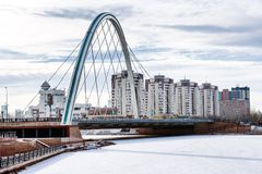 Bridge over the river Ishim in Astana. The bridge connecting the left and right bank of Astana Stock Photo