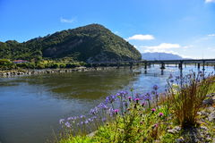 Bridge connecting to the hill in Greymouth, New Zealand Stock Photos