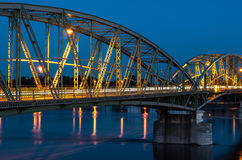 Bridge connecting two countries, Slovakia and Hungaria Royalty Free Stock Photos