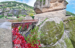 Bridge that connects the mountains at Meteora Kalambaka Greece Royalty Free Stock Photography