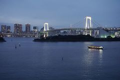 Rainbow Bridge landscape Japan. Tokyo Bay royalty free stock photo