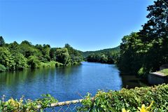 Deerfield River view from Bridge of Flowers, Shelburne Falls, Franklin County, Massacusetts, United States, USA. The bridge connects the towns of Shelburne and stock images