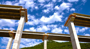 Bridge in construction. With background of blue sky Stock Image