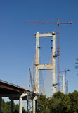 Bridge Construction. Construction of a cable supported cantilever bridge, the John James Audubon Bridge over the Mississippi River connecting St. Francisville Royalty Free Stock Photography