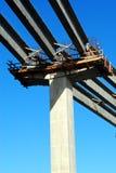 Bridge Construction. Beams laid on a bridge consturction Stock Images
