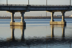 Bridge construction. On the river Dnepr stock photo