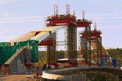 Bridge construction. Construction of a bridge over the river Royalty Free Stock Photos