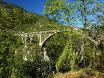 Bridge construction. Durdevica Tara arc bridge in the mountains,. North of Montenegro. One of the highest automobile bridges in Europe Royalty Free Stock Image