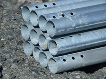 Bridge construction elements. Steel pipes which are used in scaffoldings in bridge construction Stock Image