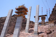 Bridge Construction at Hoover Dam. Construction work begins on the cement towers for a bridge to cross over the Colorado River at the Hoover Dam in Nevada Royalty Free Stock Photos