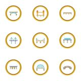 Bridge construction icons set, cartoon style Stock Image