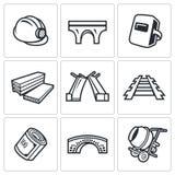 Bridge construction icons set. Vector Illustration. Stock Photo