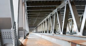 Bridge construction. Metal framework of the bridge Royalty Free Stock Photo