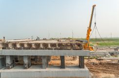 Bridge construction for outcome of Tobolsk path Stock Photography