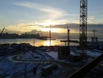 Bridge construction. Over the Neva river Stock Photo